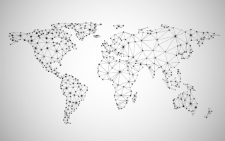 Global network mesh. Social communications background. Earth map